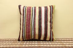 Vintage Pillow Kilim Pillow 16 x 16 Decorative by kilimwarehouse, $34.00