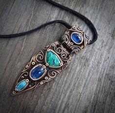 FREE SHIPPING Azurite Malachite Blue Kyanite Shattuckite Necklace