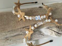 Bridal Starfish Seashell Crown Headband, Gold Starfish Bridal Crown, Beach Wedding, Nautical Wedding, Destination Wedding, Pearl Opal Crown