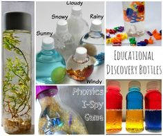"Today's post is ALL ABOUT SENSORY BOTTLES! I have to confess, I didn't really ""know"" about sensory or discover bottles, when my kids were little… I wish I did. They are so so soooo simple to make and yet provide hours of entertainment and fun.  Luckily, I can still play ""catch up"", as I think …"