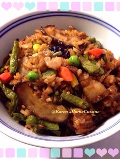 Chinese style Long Bean Rice with many many ingredients!