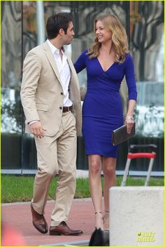 Josh Bowman in cool khaki attire - shooting on the set of his hit TV show 'Revenge' with co-star and lead actress, Emily VanCamp. Thursday (December 6, 2012) in Los Angeles