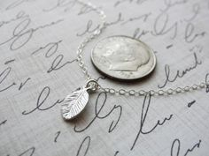 Tiny silver leaf necklace small leaf necklace by OliveYewJewels