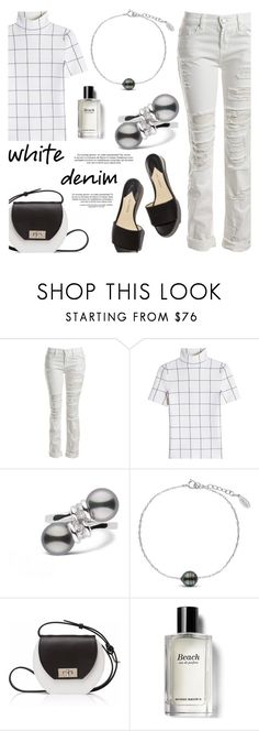 """Bright White: Summer Denim"" by pearlparadise ❤ liked on Polyvore featuring Sans Souci, Victoria Beckham, Royalty Collection, Joanna Maxham, Bobbi Brown Cosmetics, whitejeans, whitedenim, contestentry, pearljewelry and pearlparadise"