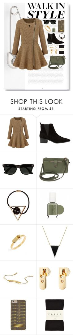 """""""The Sheena Outfit"""" by ohsosartorial ❤ liked on Polyvore featuring MANGO, Ray-Ban, Coach, Essie, Marc Jacobs, Pori, Marc by Marc Jacobs, Falke, Punk and chelseaboots"""