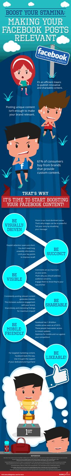 Boost Your Stamina: Making Your Facebook Posts Relevant - #infographic #socialmediamarketing