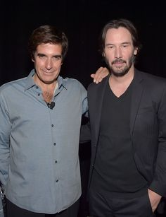 """Illusionist David Copperfield (L) and actor Keanu Reeves attend CinemaCon 2016 """"Experience the Magic of Lionsgate': A 2016 Sneak Peek and Special Advanced Screening of """"Now You See Me 2"""" at The Colosseum at Caesars Palace during CinemaCon, the official convention of the National Association of Theatre Owners, on April 23, 2015 in Las Vegas, Nevada."""