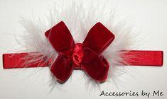 Red Velvet Marabou Bow Baby Stretch Headband by accessoriesbyme, $15.99