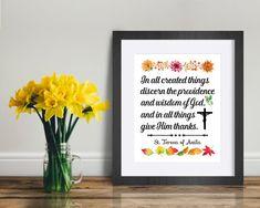 St. Teresa of Avila Quote Print Thanksgiving quote   Etsy Saints, Thanksgiving Quotes, Saint Quotes, Quote Prints, All Things, Thankful, Wisdom, Frame, Etsy