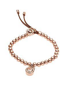 Michael Kors Jewelry Rose Gold Padlock Stretch Bracelet
