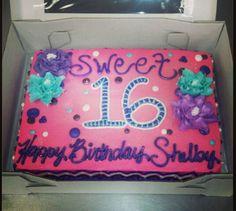 Sweet 16 birthday cake. Icing flowers.  Chevron sides.
