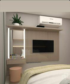 Teen Bedroom Designs, Room Design Bedroom, Room Ideas Bedroom, Home Room Design, Home Design Decor, Bedroom Decor, House Design, Bedroom Tv Wall, Small Master Bedroom