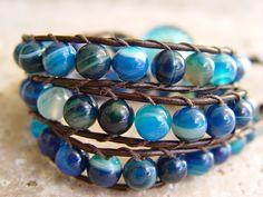 Triple leather wrap bracelet woven with agate by artZjewelrystudio, $39.00