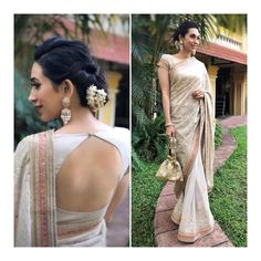 design with images of both front and back neck. These blouse patterns work with a variety of different sarees which you can flaunt at different special occasions with styling tweaks. Latest saree blouse designs front and back Indian Blouse Designs, Choli Designs, Choli Back Design, Saree Blouse Neck Designs, Saree Blouse Patterns, High Neck Saree Blouse, Lehenga Blouse, Saree Dress, Sari Bluse