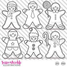 Gingerbread Boys Cute Digital Stamps, Gingerbread Blackline, Christmas Gingerbread Black and White Outline, Line Art, Illustration