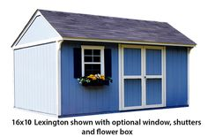 shed shown with optional window, shutters and flower box Storage Sheds For Sale, Shed Storage, Traditional Sheds, Backyard Buildings, Window Shutters, Flower Boxes, Outdoor Structures, Windows, Blinds