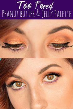 Too Faced Peanut Butter and Jelly Palette tutorial using the shades Peanut Brittle, Peanut Butter Cup and Jelly! This eyeshadow look is extremely easy to replicate and is a great makeup look for brown eyes! // Hey There, Chelsie