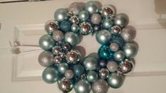 Silver and blue bauble wreath.