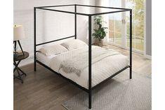 Modern Black Four Poster Bed Frame Metal Bed Frame 4FT6 Double / 5FT King Size | eBay