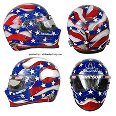 "Simpson race helmet I designed and painted for Bob Ondrovic who races a Acura. American flag design with Acura logo, bright colors, bold lines really make this helmet stand out. This helmet was featured the cover of NSX Driver magazine. ""Don Johnson is an incredible artist! Great client contact and working relationship taking"