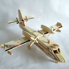 Wool 3D Wood Puzzle DIY Assembled Wooden Plane Model Toy $15.50