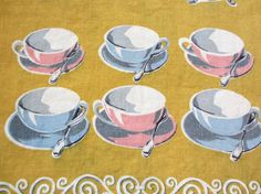 Tea time. Vtg linen kitchen towel / Irish linen / tea cups silver service / pink blue yellow / great condition by fuzzandfu, $32.00