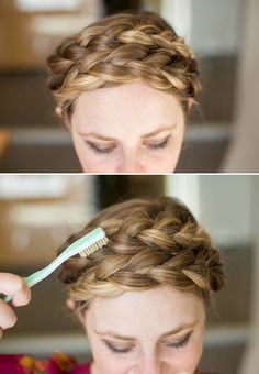 Use a teasing brush or toothbrush to texturize milkmaid braids. See 23 other life-changing styling hacks that make having a good hair day easy.