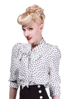 1940s Silk Pussy Bow Blouse - Fashion 1930s, 1940s & 1950s style - vintage reproduction