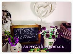 Purple & Green Owl themed Baby Shower Dessert Table www.sucrecakes.com.au