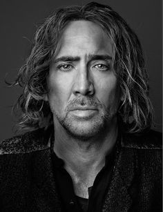Black and white man portrait face of Nicolas Cage | by Marco Grob