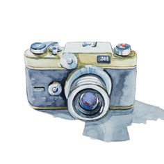 animasi, Print Collection - Argus C Forty Four Camera, Watercolor Painting Camera Painting, Camera Drawing, Camera Art, 35mm Camera, Watercolor Cards, Watercolor Illustration, Watercolor Paintings, Watercolours, Logo Foto