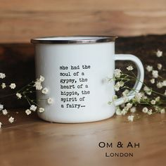"""Slow mornings with our """"Heart of a Hippie"""" mug and our favorite brew make our hippie hearts happy -- and they're also the perfect addition to your dream boho kitchen. These inspirational, lightweight cups are the perfect treat for the tea lover or coffee fiend in your life. Shop our collection today!"""