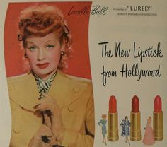 Vintage 1940s Makeup Products | ... LUCILLE BALL Max Factor Hollywood Advertisement Make Up Cosmetics
