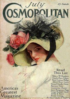 Cosmopolitan Magazine Edwardian Era with cover illustration by Harrison Fisher