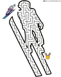 This ski maze of a ski jumper is a fun activity page to print for kids who love skiing, even in the Olympics. Olympic Idea, Olympic Games Sports, Olympic Gymnastics, Gymnastics Quotes, Mazes For Kids Printable, Olympic Crafts, 2018 Winter Olympics, Jordyn Wieber, School Sports