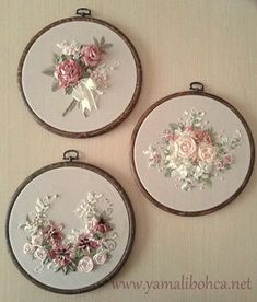 Wonderful Ribbon Embroidery Flowers by Hand Ideas. Enchanting Ribbon Embroidery Flowers by Hand Ideas. Ribbon Embroidery Tutorial, Rose Embroidery, Silk Ribbon Embroidery, Embroidery Hoop Art, Hand Embroidery Designs, Embroidery Stitches, Embroidery Patterns, Ribbon Art, Diy Ribbon