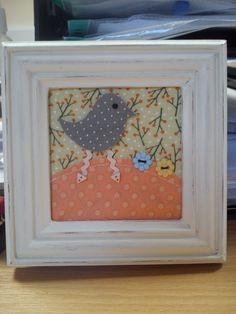 Little birdie handmade fabric framed picture
