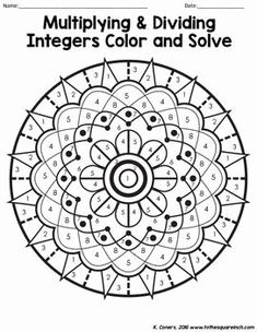 Multiplying and Dividing Integers Color and Solve by To the Square Inch- Kate Bing Coners Multiplication Of Integers, Subtracting Integers Worksheet, Integers Activities, Multiplying And Dividing Integers, Math Activities, Adding Integers, Cognitive Activities, Fractions, Math Games