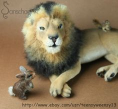 OOAK Dollhouse Miniature Male Lion Animal Pet Handflocked 1 12 | eBay