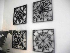 DIY wrought iron wall decor but made from toilet paper rolls. But will I really put curled up toilet paper rolls on my wall? Toilet Paper Roll Art, Toilet Paper Roll Crafts, Diy Paper, Tissue Paper, Crafts To Make, Fun Crafts, Decor Crafts, Home Decor, Wrought Iron Wall Decor