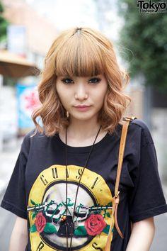 strawberry blonde rocker style Japanese girl in Harajuku