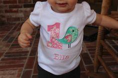 Girls Birthday Shirt  Bird Birthday Shirt  by sweettulipsboutique, $22.50