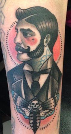 Victorian Gentleman And Moth Tattoo