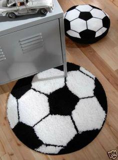 Tapis Noir et Blanc motif Football                              …
