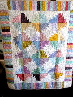 QUILT - Vintage REPRO Fabrics - Lap Quilt - 1930s fabrics - Throw Size - Sawtooth Pattern - Handmade- plus free shipping by chrystelle on Etsy