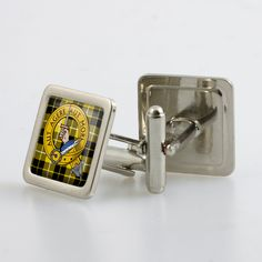 Steel cufflinks set with resin domed crest and tartan - only from ScotClans