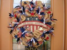4th of july burlap ribbon | FREE SHIPPING...Natural Burlap Patriotic 4th of July Wreath