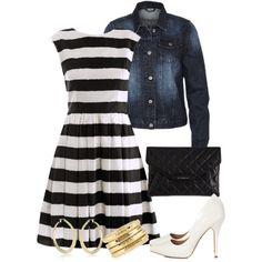 Denim jacket - stripe dress, created by c-michelle on Polyvore