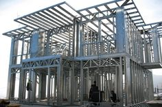 Light steel villa, known as light steel structure housing, the main material is made of hot galvanized steel strip cold rolled metal frame. Prefab Cabins, Prefabricated Houses, Prefab Homes, Metal Building Homes, Concrete Building, Building Design, Steel Frame House, Steel House, Metal Stud Framing