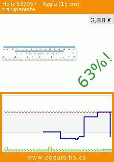 Helix 569957 - Regla (15 cm), transparente (Productos de oficina). Baja 63%! Precio actual 3,88 €, el precio anterior fue de 10,53 €. https://www.adquisitio.es/no-name/ruler-plastic-10ths